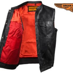 sons of anarchy leather vest red lines