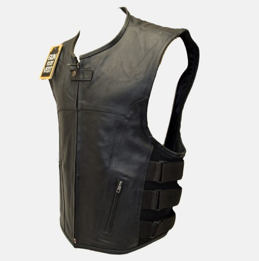 tactical style leather motorcycle vest
