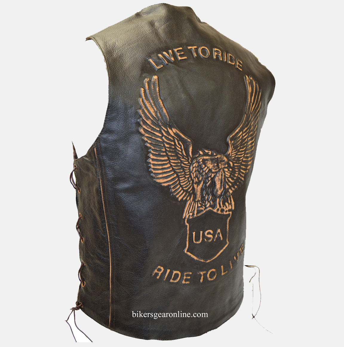 USA Live to Ride Leather Vest Motorcycle