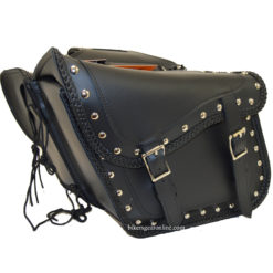 Black saddlebags for motorcycles