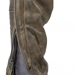 Brown Distressed Motorcycle Leather Chap Pant
