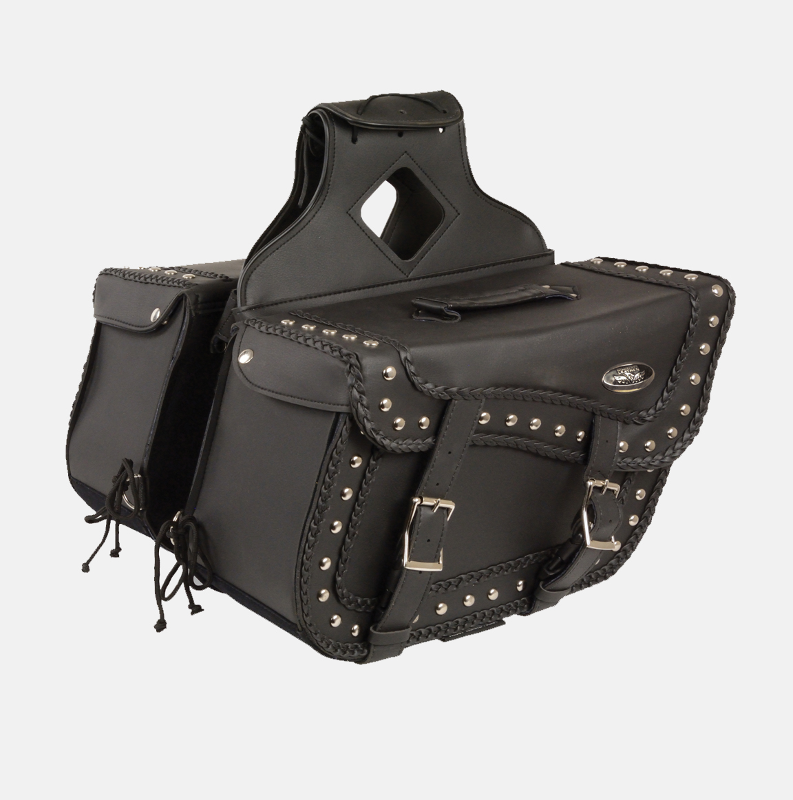 Braided studded zip off pvc saddlebag bikers gear for Motor cycle saddle bags