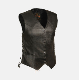 ladies long leather vest