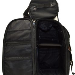 mens black leather backpack