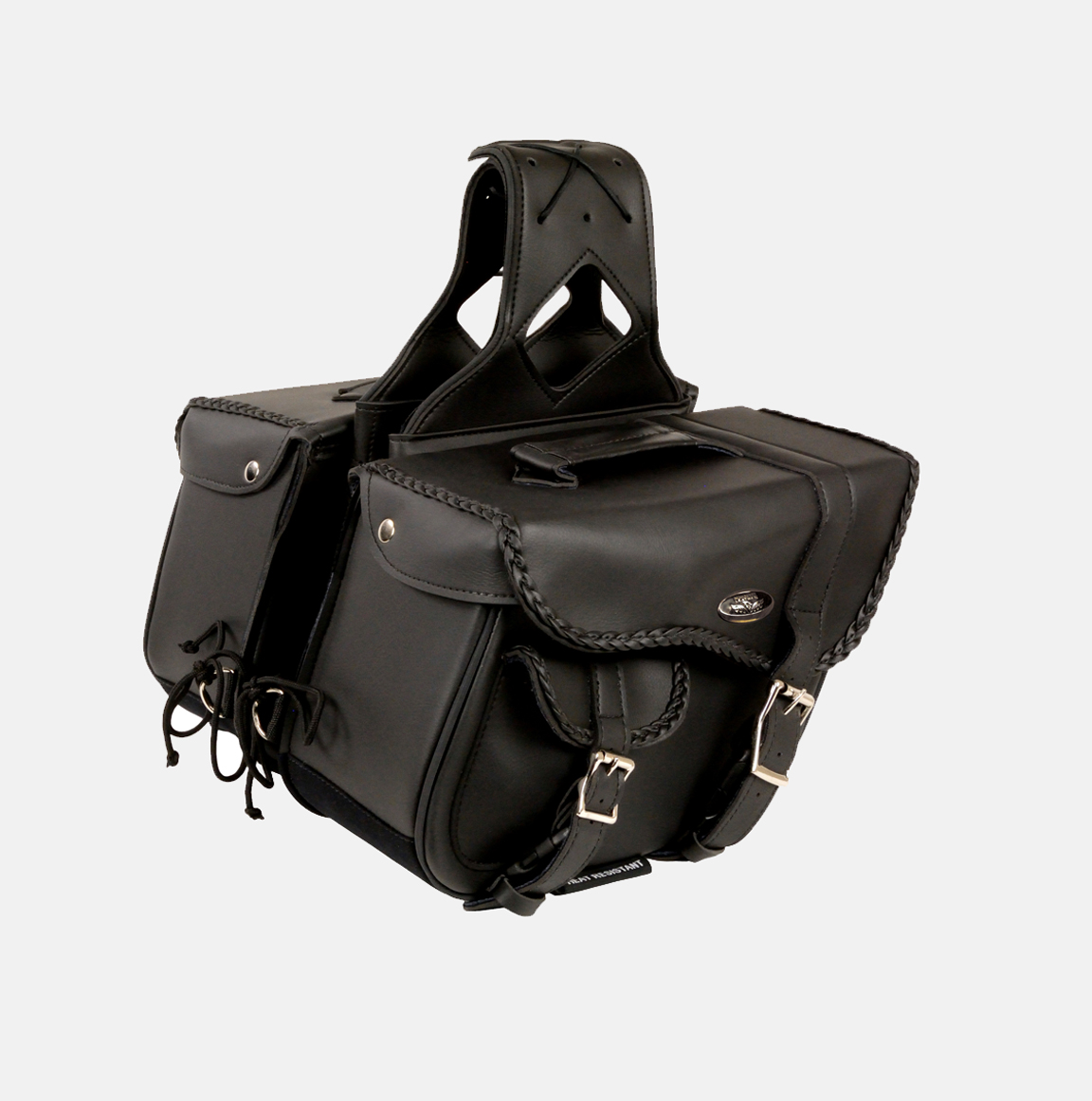 Braided zip off pvc saddlebag bikers gear online usa for Motor cycle saddle bags