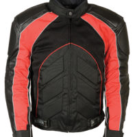 motorcycle riding armor biker leather jacket black red