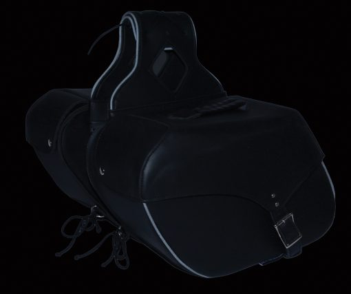 motorcycle saddlebags black leather
