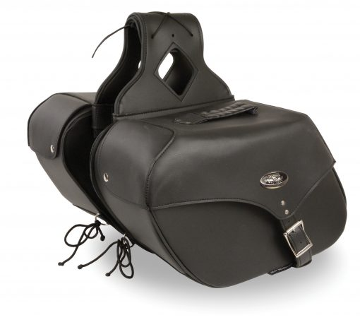 motorcycle saddlebags waterproof Black Leather