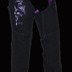 Women Chaps Pants Textile Black purple shade