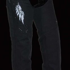 womens chaps pants black