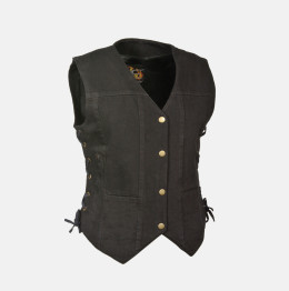 Womens Leather Vest 6 Pocket