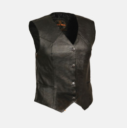womens long leather vest