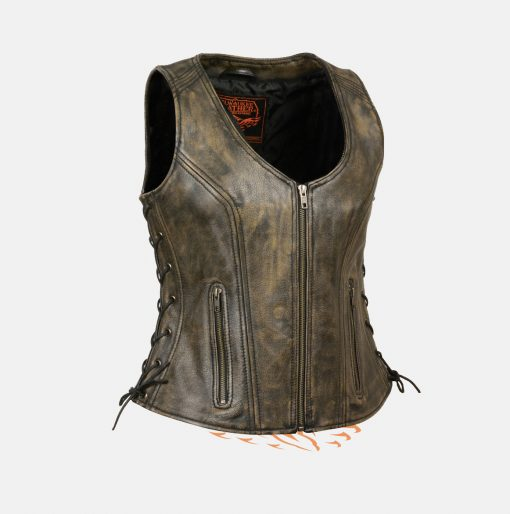 Best womens brown distressed leather vest