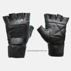 black fingerless leather gloves