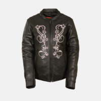 Black pink leather jacket
