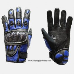 blue leather gloves