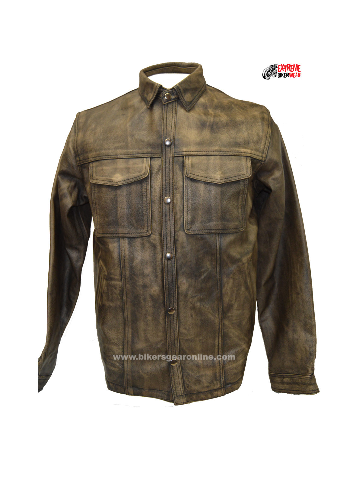Distressed brown leather shirt jacket w gun pockets for Leather jacket and shirt