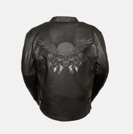 Cowhide Leather Jacket Skull Wings