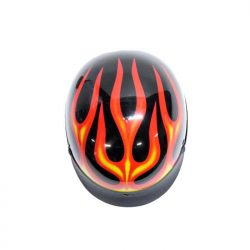DOT motorcycle helmet with flames