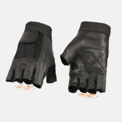 fingerless gloves black leather