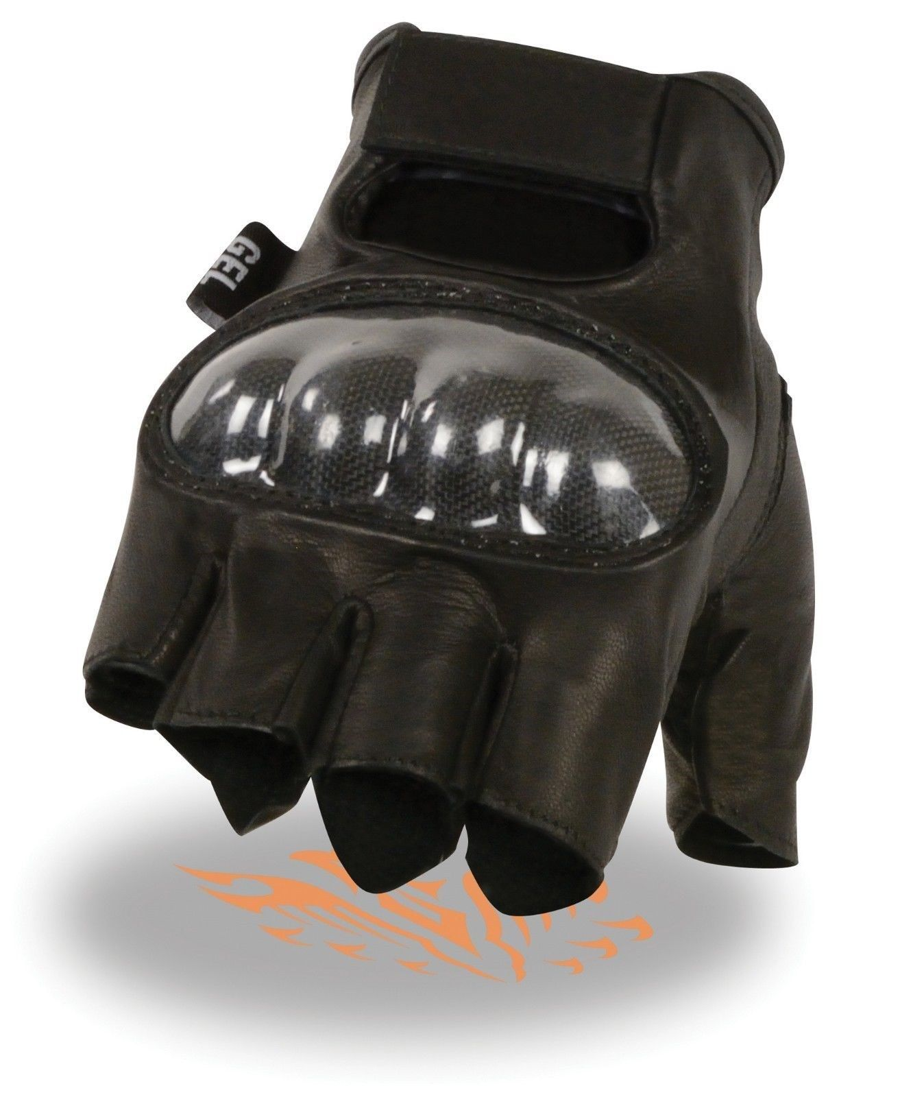 Hard Carbon Knuckles Fingerless Gloves Bikers Gear