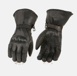 Hard knuckle Gloves Black Leather