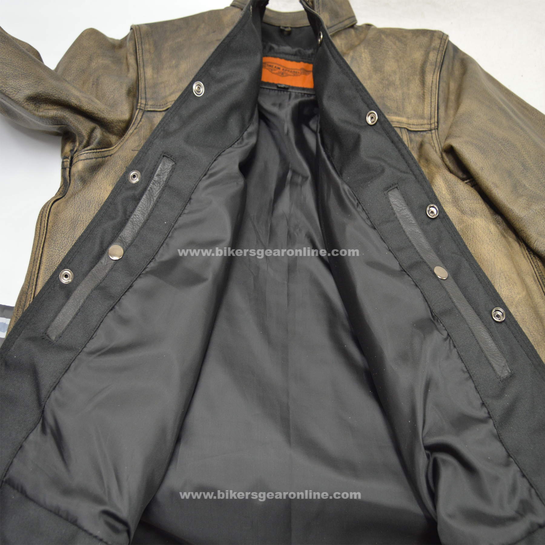 INSIDE Sample of Distressed Brown Leather Shirt