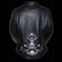 ladies black pink leather jacket