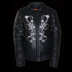 ladies black pink leather jackets