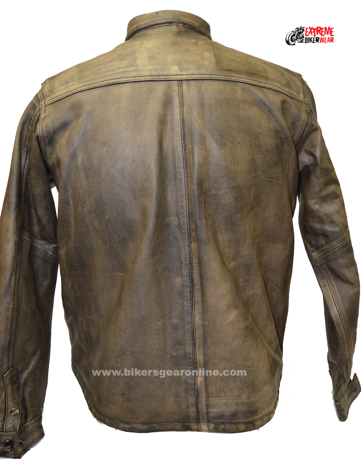 Mens Brown Leather Shirt for Sale - Distressed Shirt Gun ...