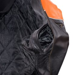 Orange Black racing jacket pockets