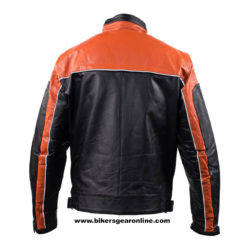 orange motorcycle leather jacket