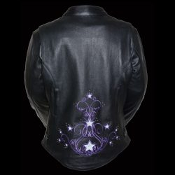 studded leather jacket womens back purple stars