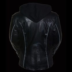 women's asymmetrical black leather jacket