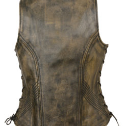 womens brown distressed leather vest