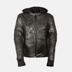 womens leather jacket with hood