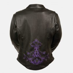 women's stylish leather jackets purple stars