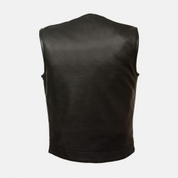 Soft collarless leather jacket for men