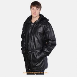 black leather jacket with hood for men
