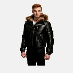 fur hooded jacket men's