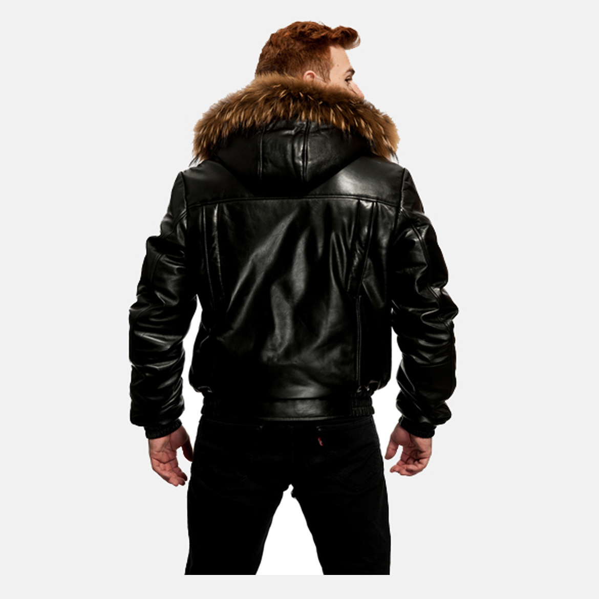 ORIGINAL GOOSE DOWN BOMBER BUTTER SOFT LEATHER JACKET W RACCOON ...