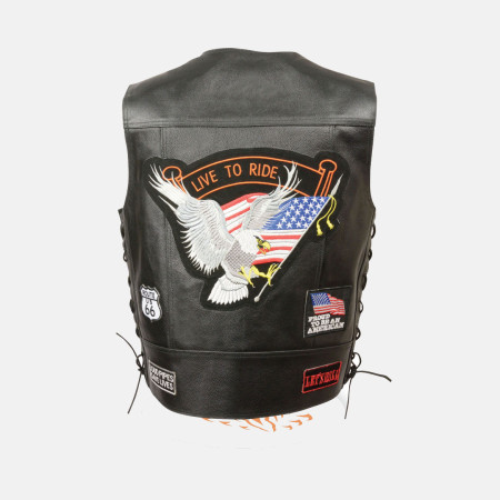 leather motorcycle jacket with patches