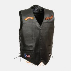 leather motorcycle jacket with patches USA