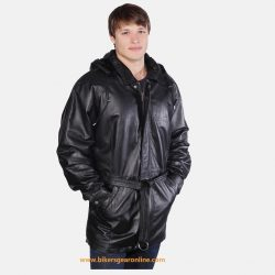 mens black leather jacket with hoodie