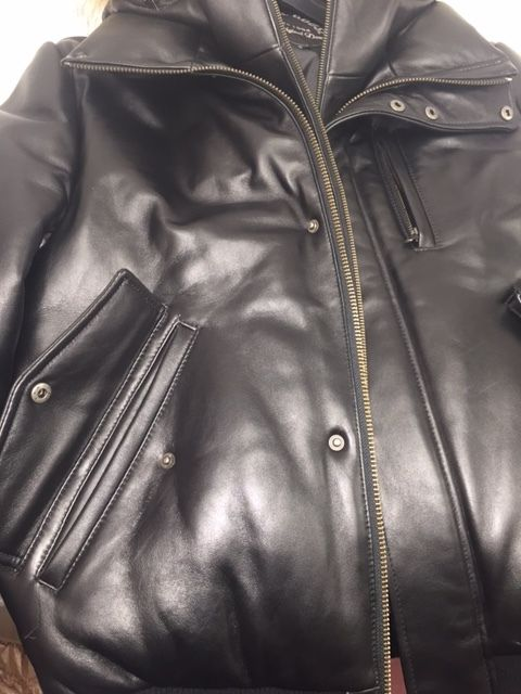 Original Goose Down Bomber Butter Soft Leather Jacket W Raccoon Fur