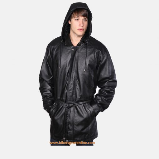 mens leather hooded jacket