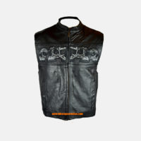 mens leather skull vest