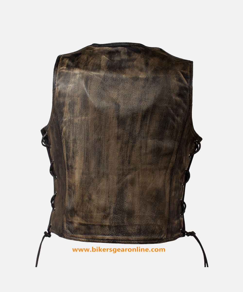 womens distressed leather vest back