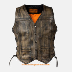 womens distressed leather vest for sale
