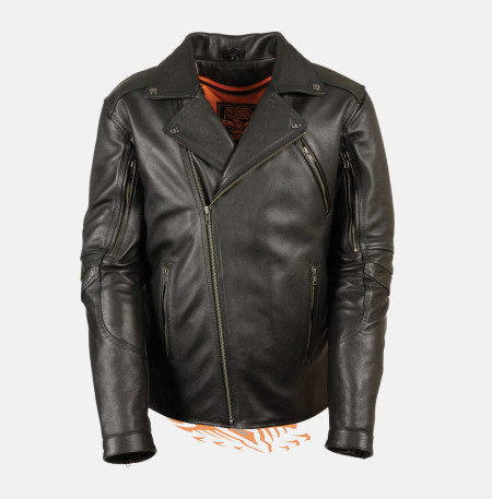 Black Police Leather jacket Beltless